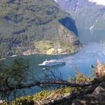 Many cruise ships come into Geiranger