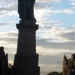 Pigeon on Statue in Edinburgh Scotland