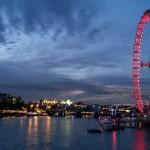 London Eye and Thames River at night
